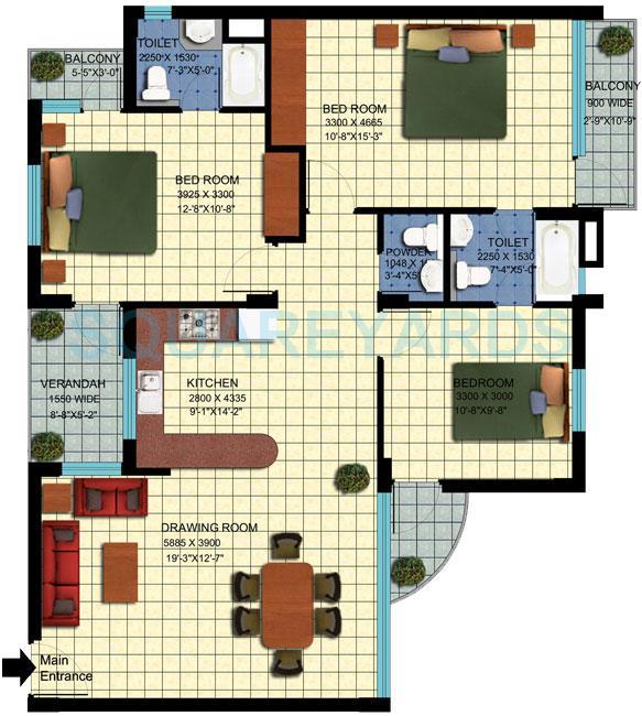 achievers status enclave apartment 3bhk 1439sqft 1