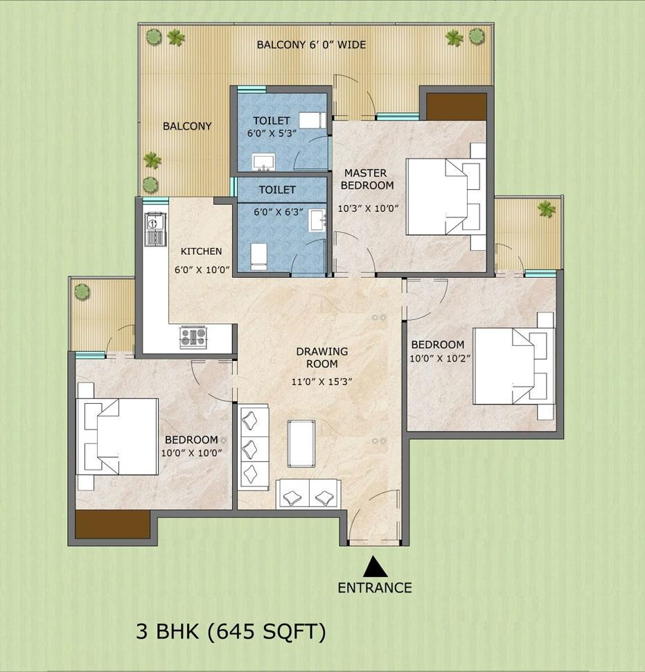 adore samriddhi apartment 3bhk 645sqft11