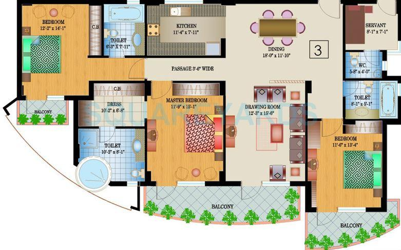 ansal buildwell ansal crown heights apartment 3bhk 2122sqft 1