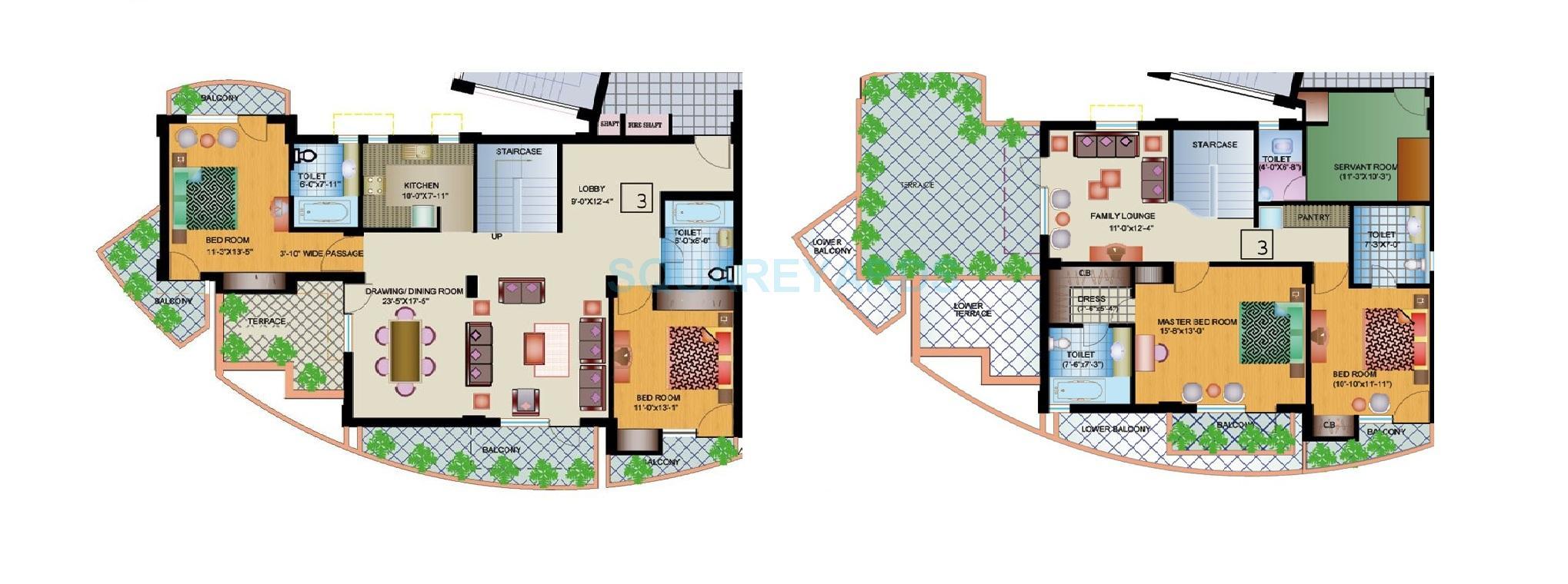 ansal buildwell ansal crown heights penthouse 4bhk 3074sqft 1