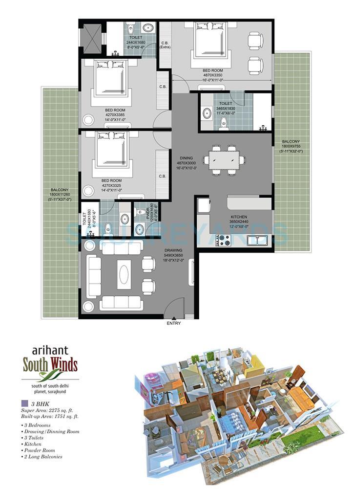 arihant south winds apartment 3bhk 2275sqft 1