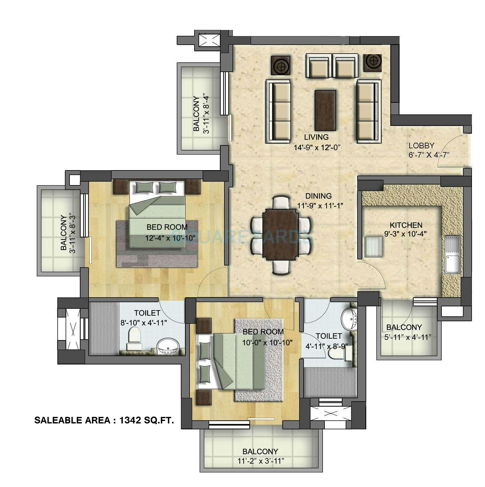 bptp grandeura apartment 2bhk 1342sqft 1