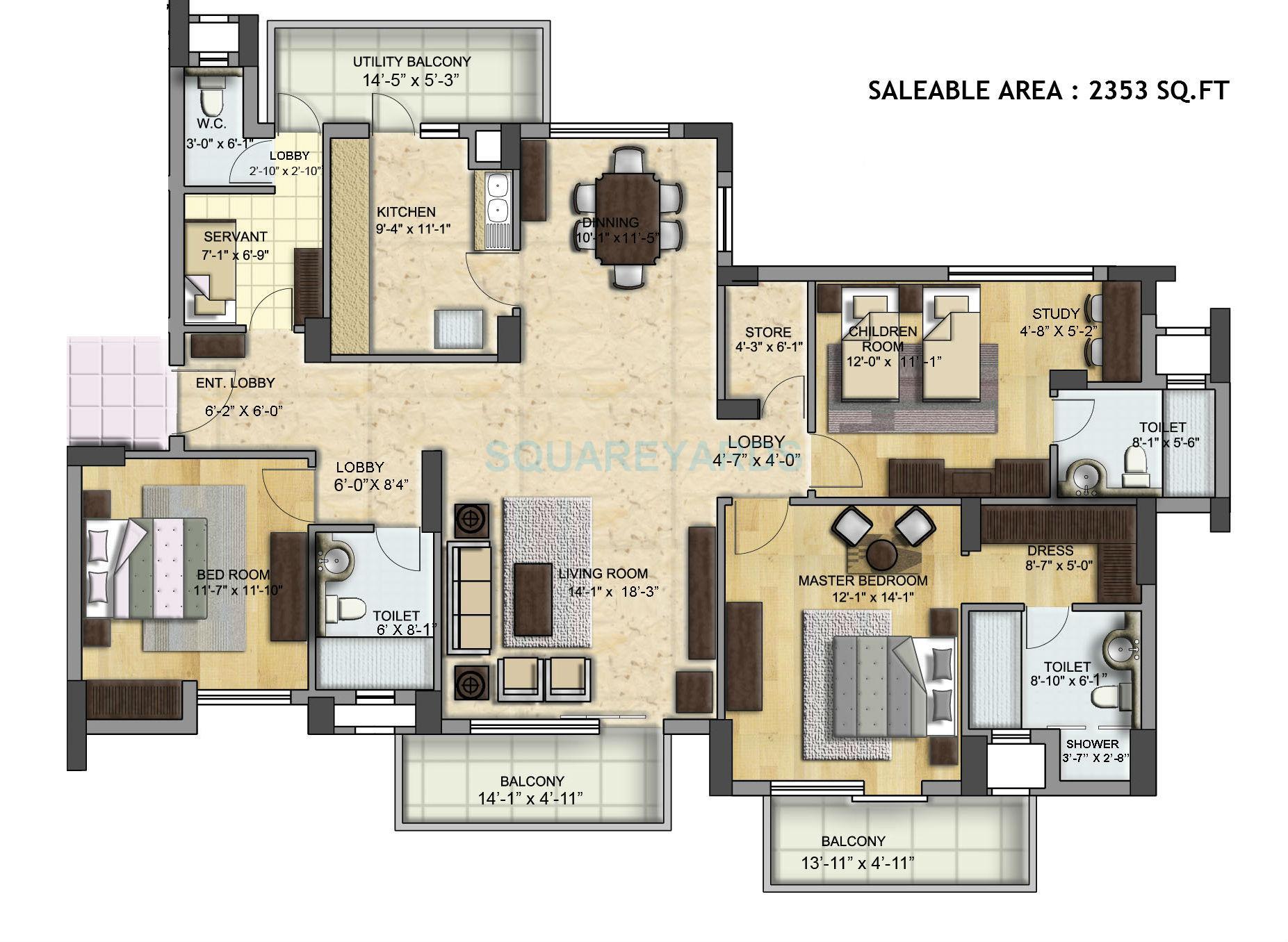 bptp grandeura apartment st sq 3bhk 2353sqft 1