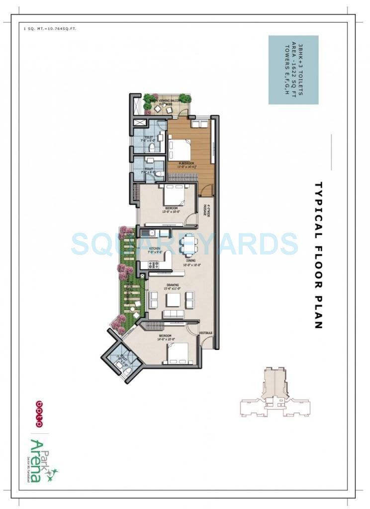 bptp park arena apartment 3bhk 1622sqft 1