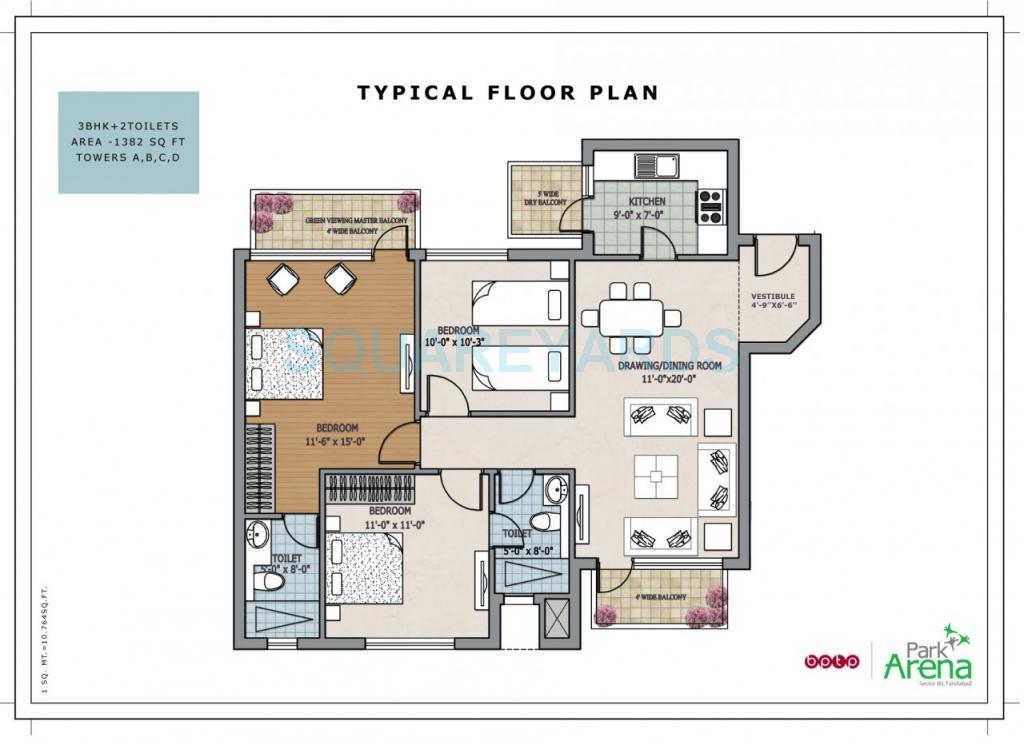 bptp park arena apartment typical 3bhk 1382sqft 1