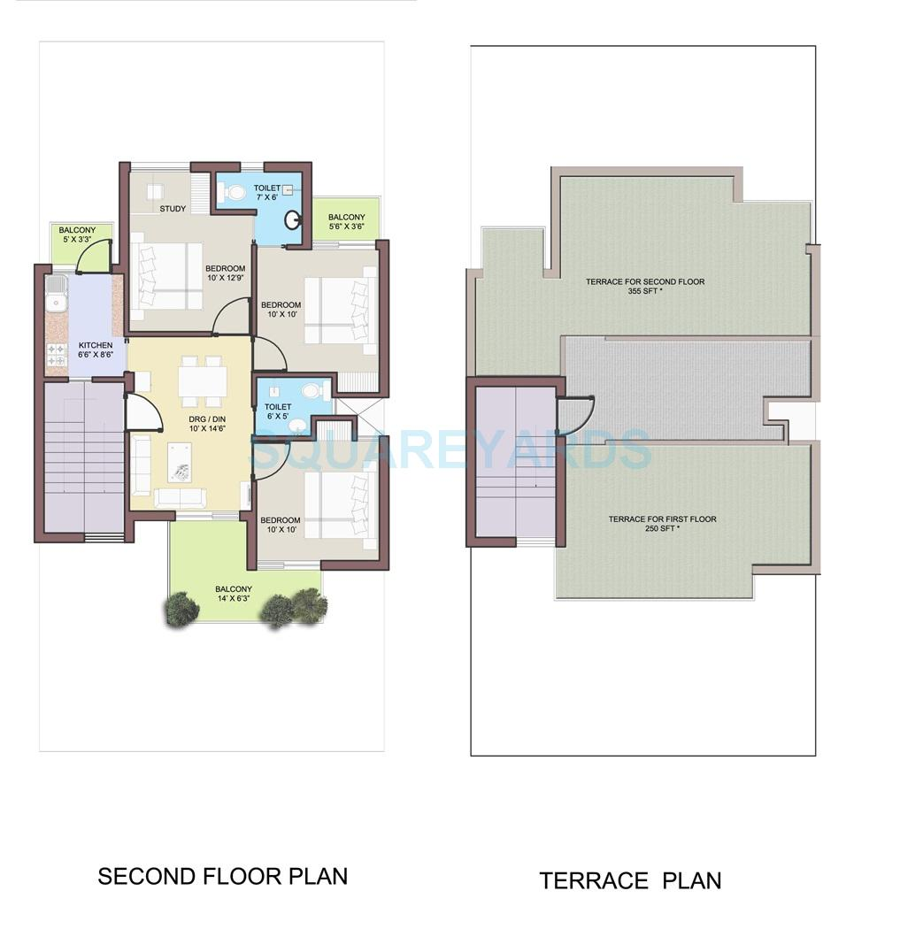 bptp park elite floors independent floor 3bhk sf 876sqft 1