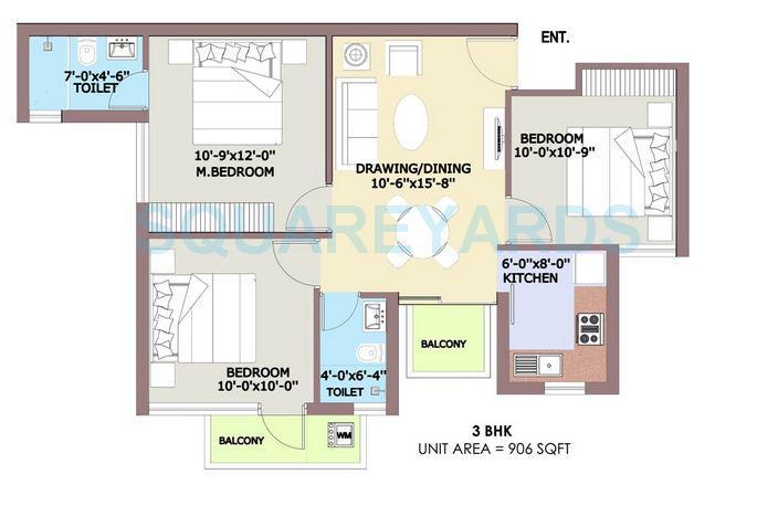 bptp park elite premium apartment 3bhk 906sqft 1