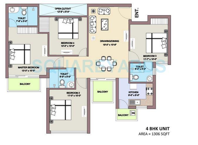 bptp park elite premium apartment 4bhk 1306sqft 1