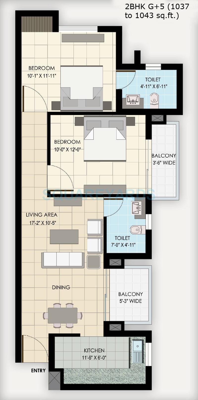 bptp park floors ii apartment 2bhk 1038sqft 1