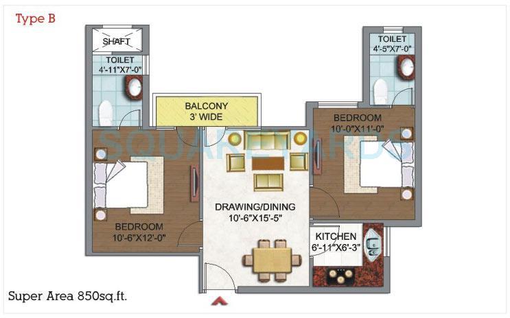 dhingra gloria apartment 2bhk 850sqft 1