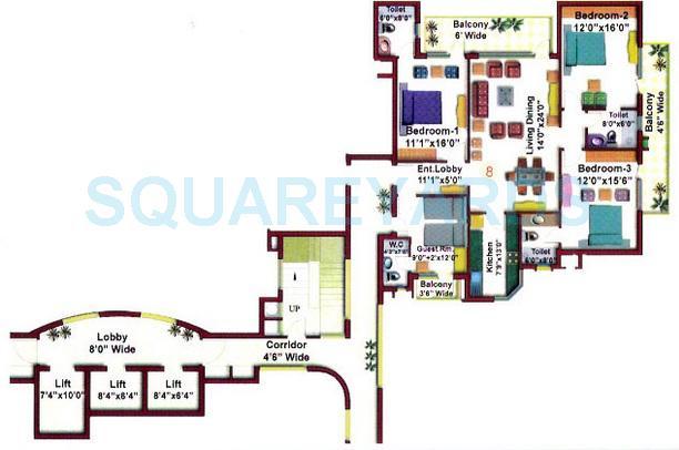 eros charmwood village apartment 4bhk 2100sqft 1