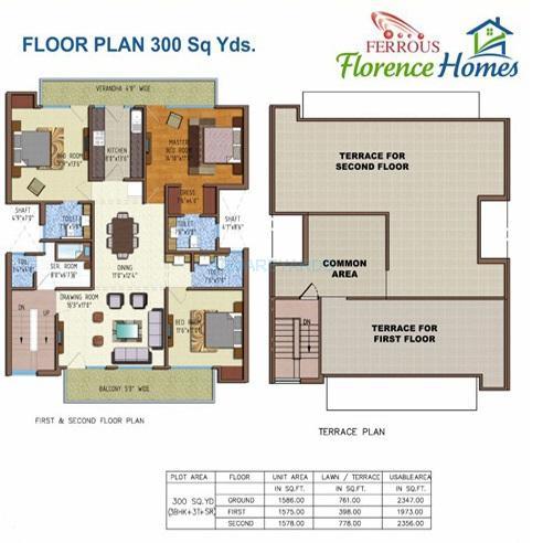 ferrous florence homes ind floor 3bhk sf 2356sqft 1