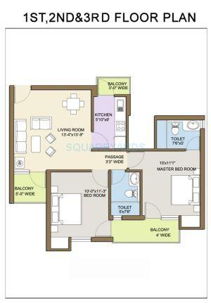 klj platinum floors independent floor ff 2bhk 829sqft 1