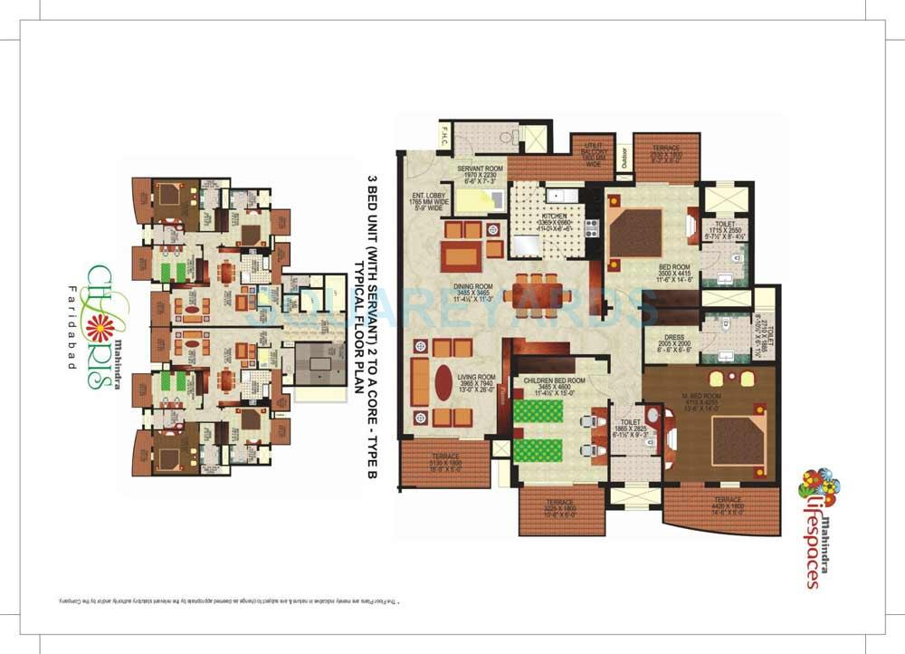 mahindra lifespaces chloris apartment 3bhk sq 2400sqft 1