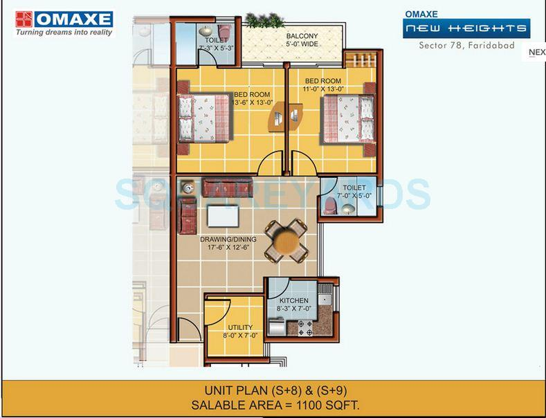 omaxe new heights apartment 2bhk 1100sqft 1