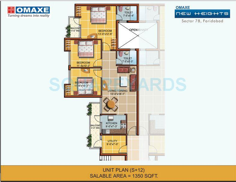 omaxe new heights apartment 3bhk 1350sqft 1