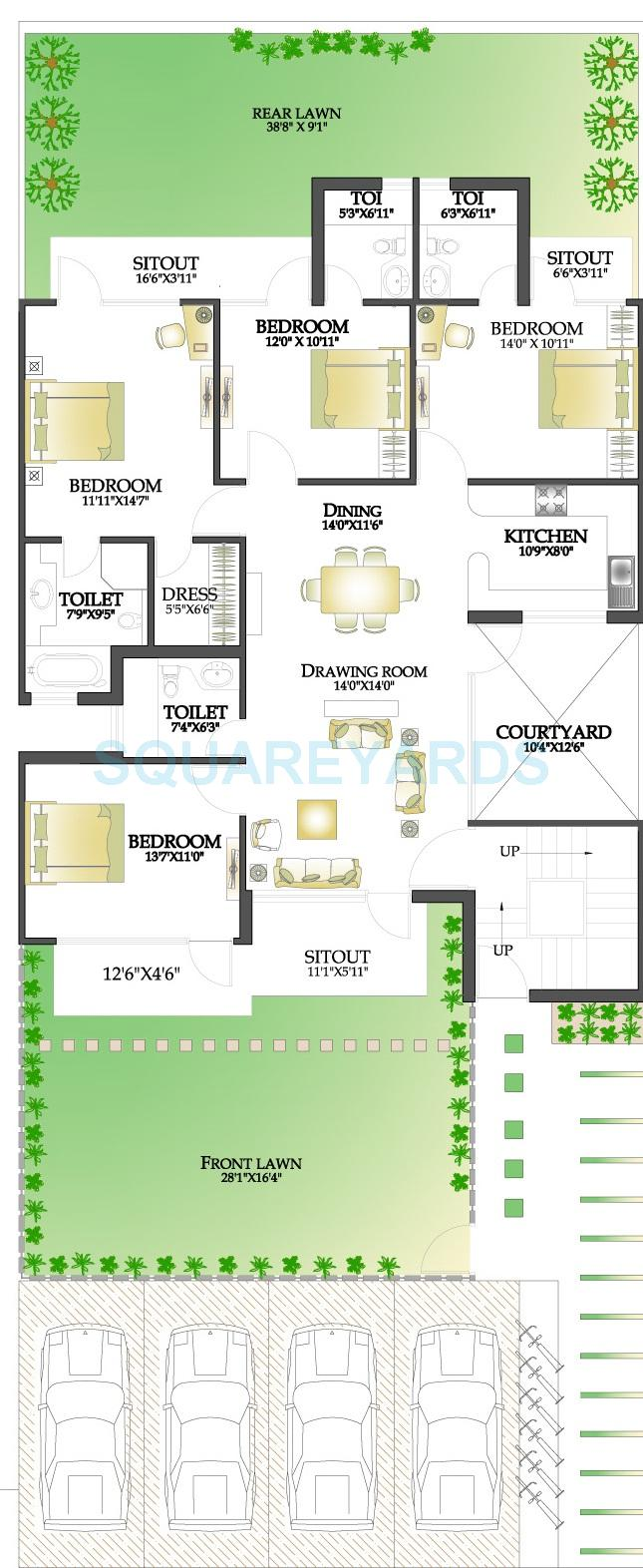 rps palms independent floor gf 4bhk 1805sqft 1
