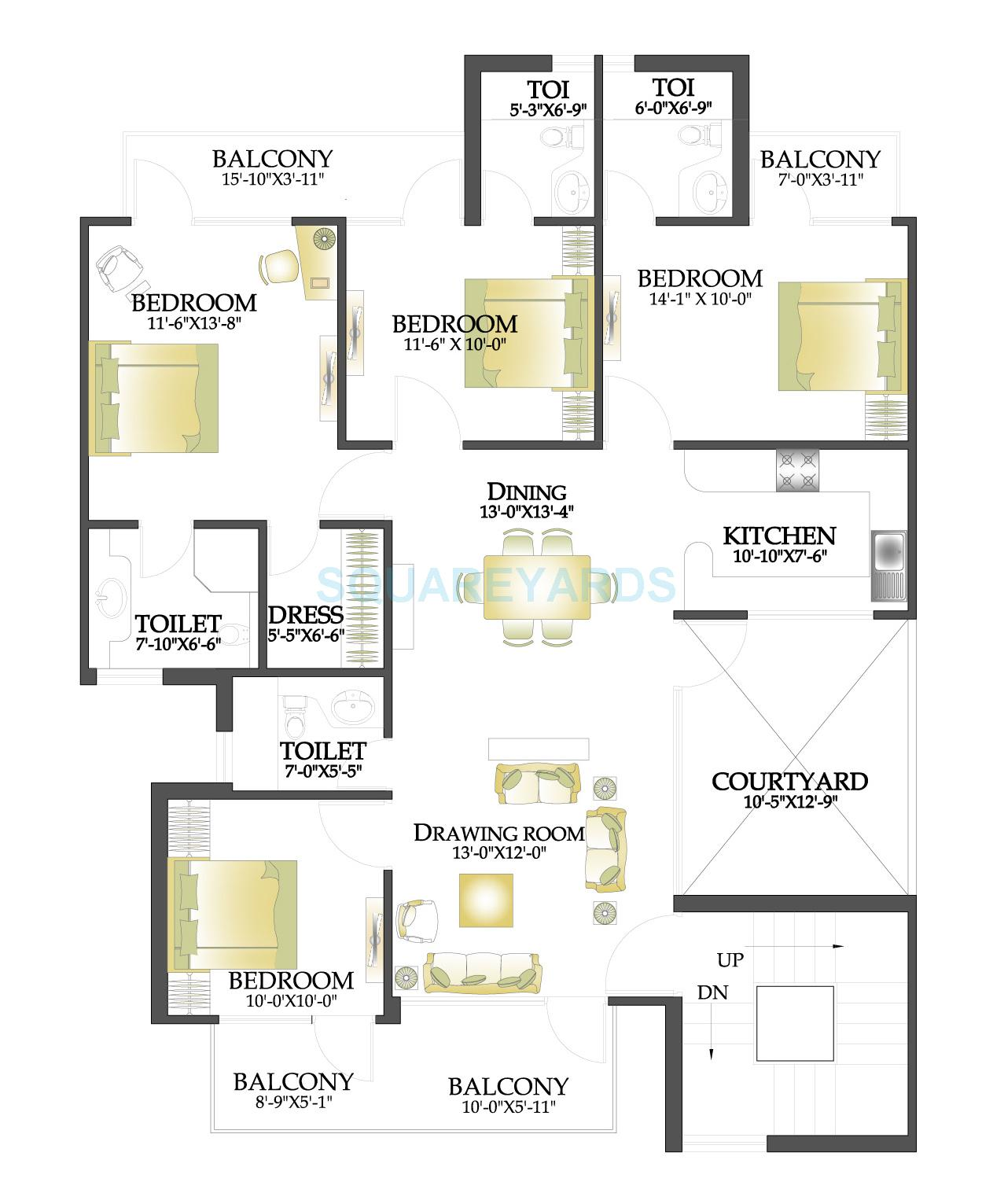 rps palms independent floor typical 4bhk 1620sqft 1
