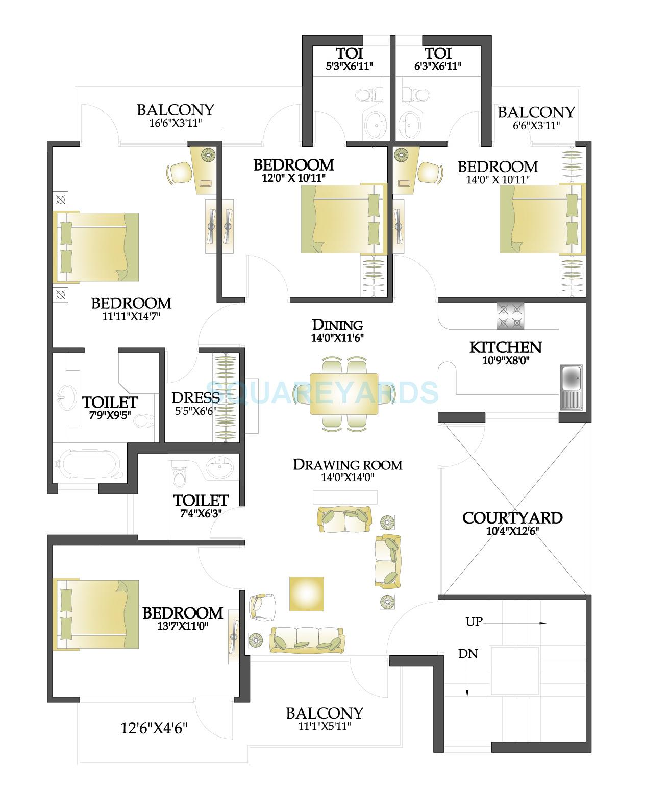 rps palms independent floor typical 4bhk 1850sqft 1