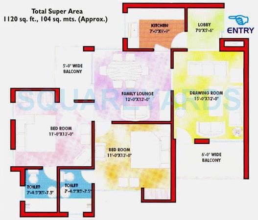 saffron kanishka tower apartment 2bhk 1120sqft 1