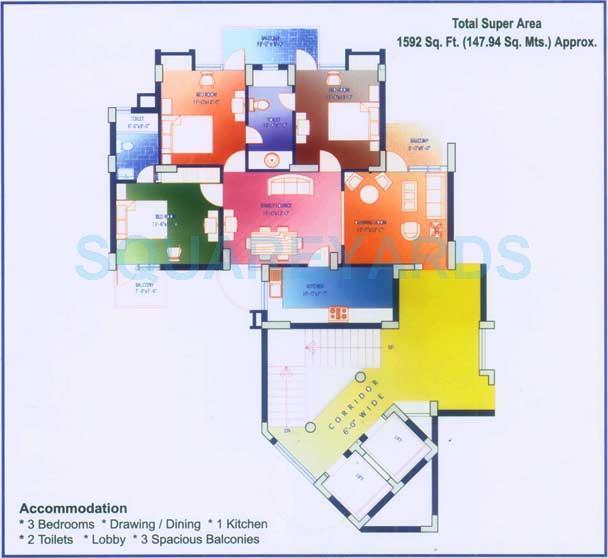 saffron kanishka tower apartment 3bhk 1592sqft 1