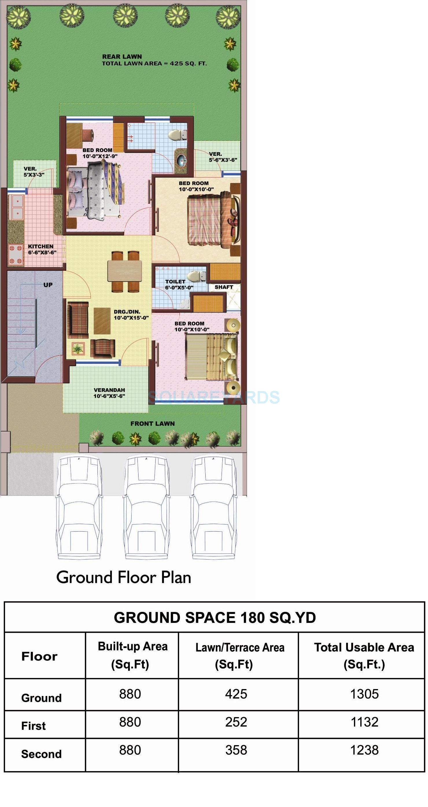 srs pearl floors independent floor 3bhk 1305sqft 1