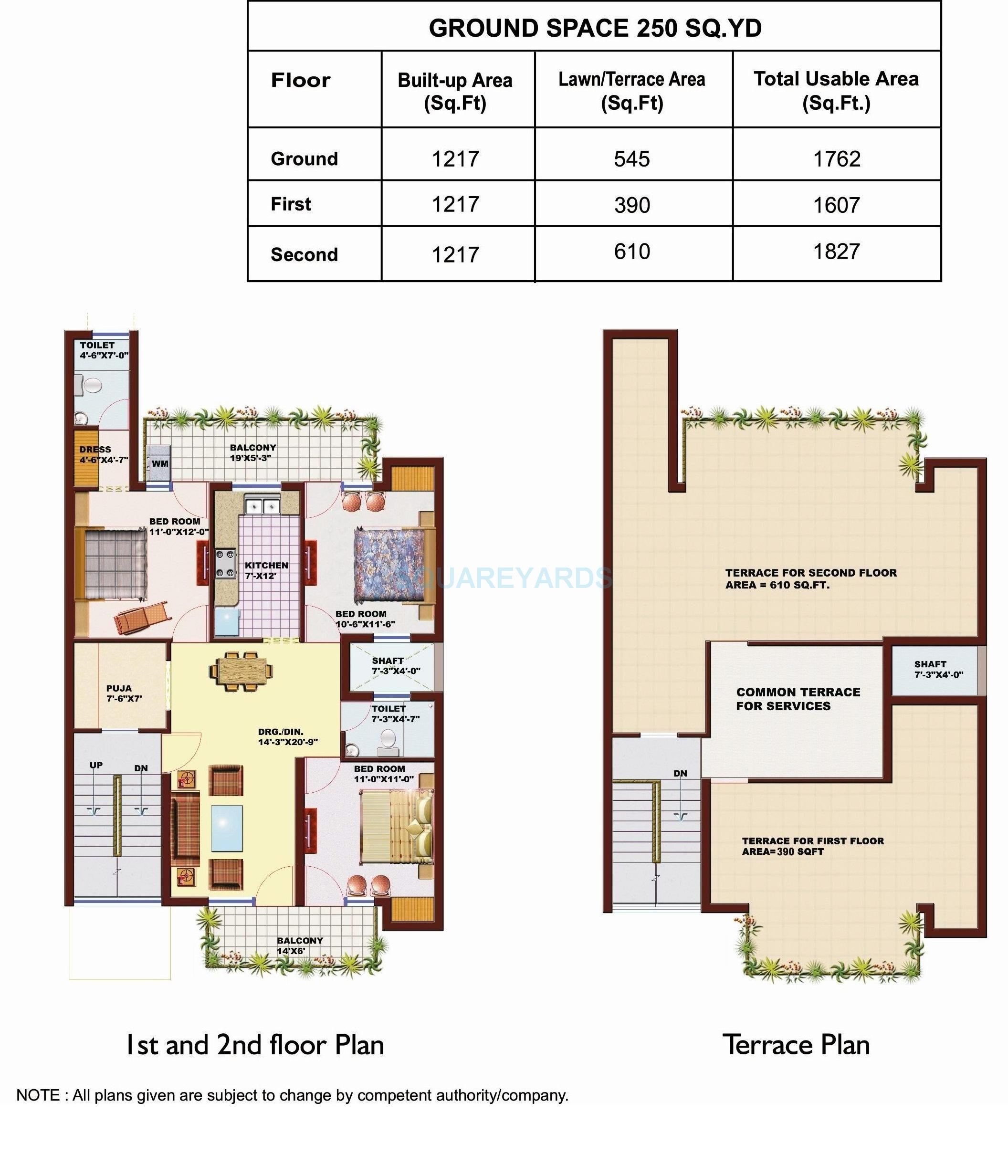 srs pearl floors independent floor 3bhk 1827sqft 1