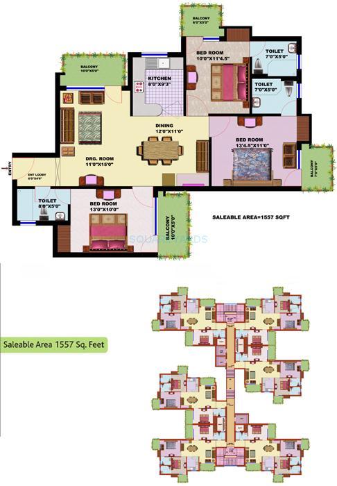 srs residency apartment 3bhk 1557sqft 1