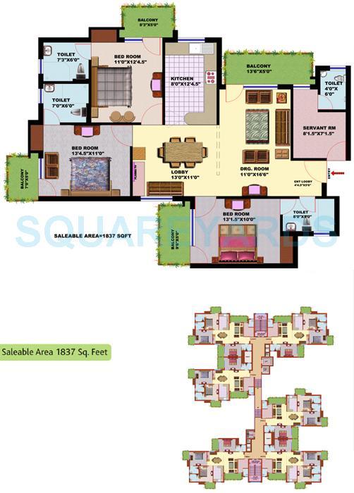 srs residency apartment 3bhk 1857sqft 1