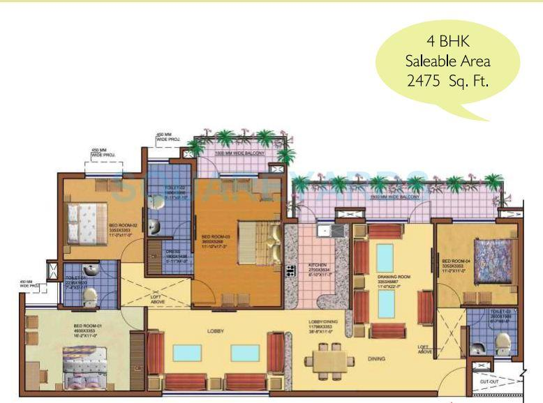 srs royal hills 2 apartment 4bhk 2475sqft 1