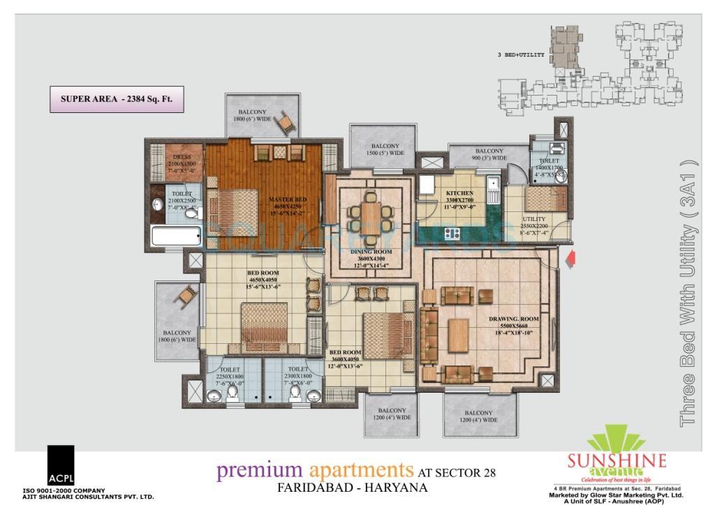 sunshine avenue apartment 3bhk 2384sqft 1