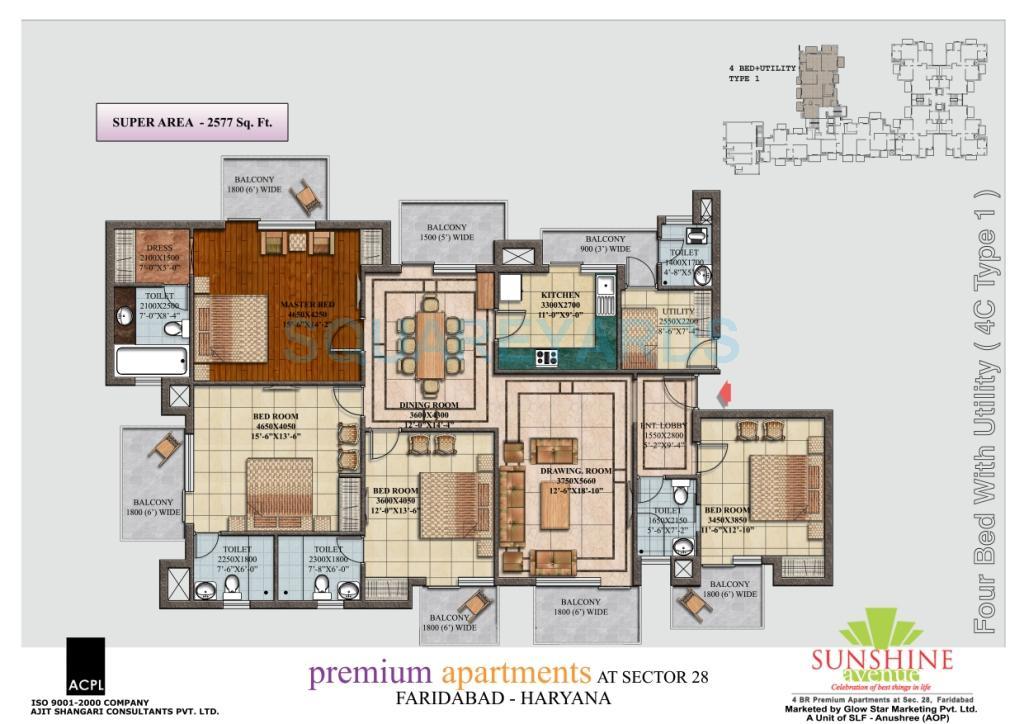 sunshine avenue apartment 4bhk 2577sqft 1