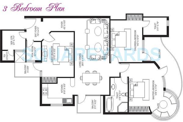 tarang orchid apartment 3bhk sq 1950sqft 1