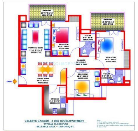 zion stonecrop celeste garden apartment 3bhk 1518sqft 1