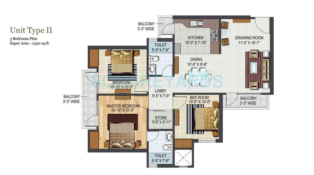 aditya city apartments apartment 3bhk 1340sqft1