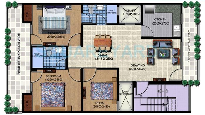 aditya white cottage apartment 3bhk 1376sqft1