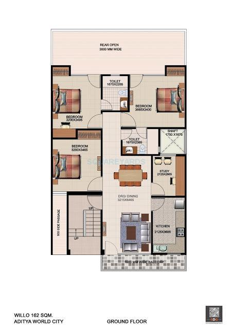 aditya willow 162 apartment 3bhk 1377sqft1