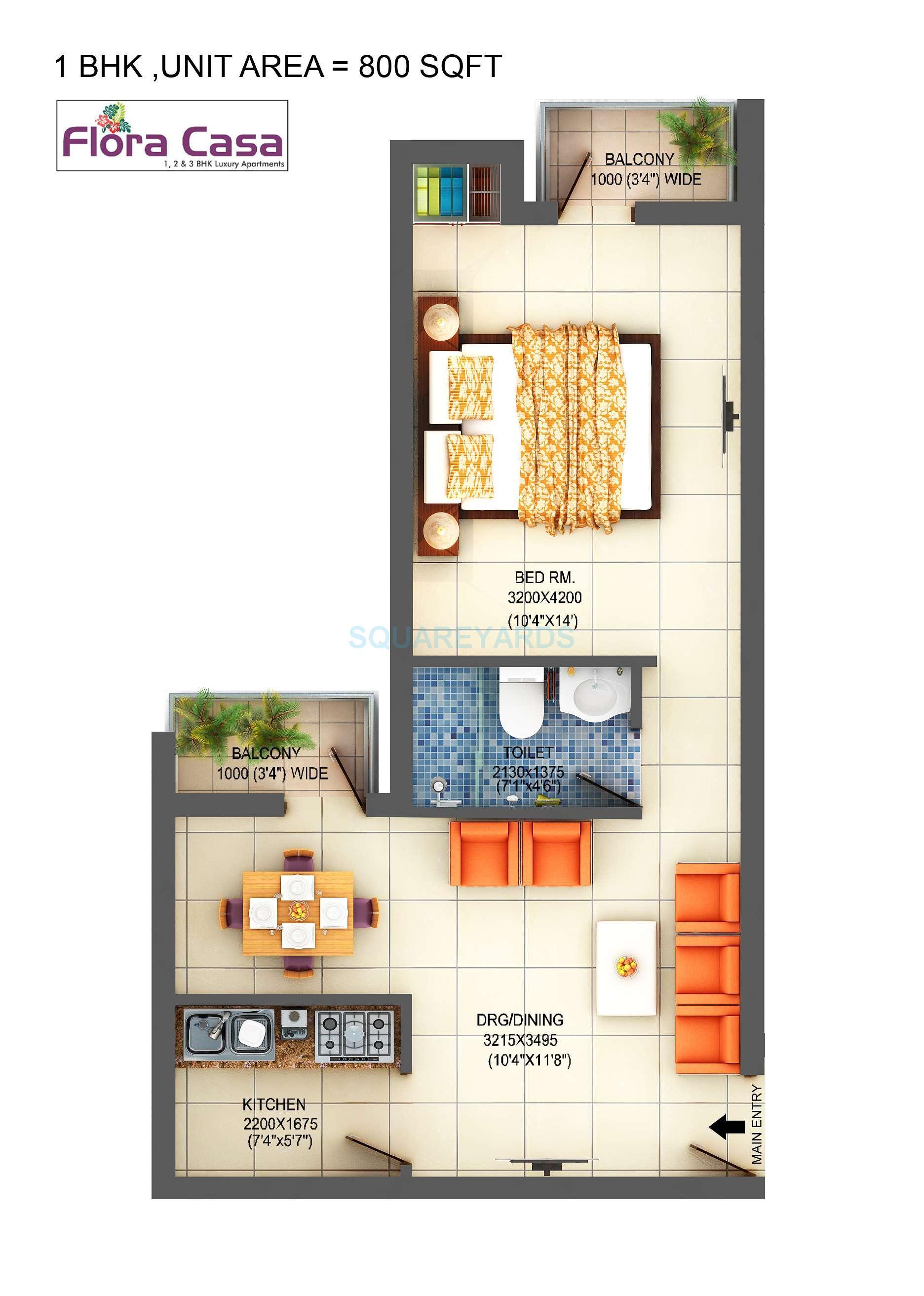 1 BHK 800 Sq. Ft. Apartment Floor Plan