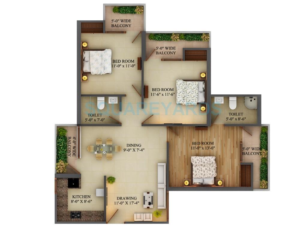 adwik group grand casa apartment 3bhk 1495sqft1