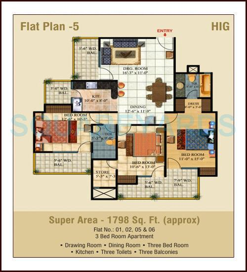 ajnara pride apartment 3bhk 1798sqft1