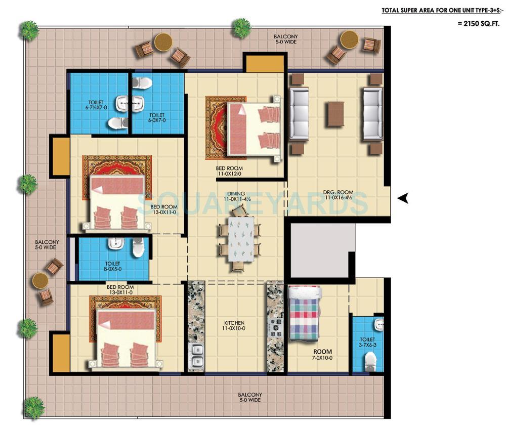 amr krishna apartment apartment 3bhk sq 2150sqft 1
