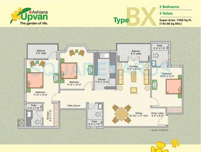 ashiana upvan apartment 3bhk 1560sqft 1