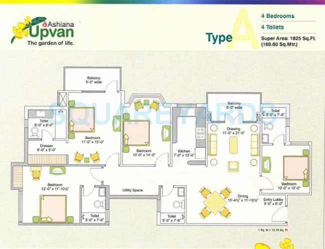 ashiana upvan apartment 4bhk 1825sqft 1