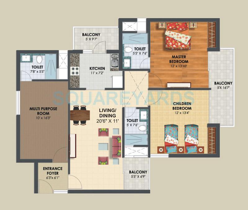 assotech the nest apartment 3bhk 1655sqft 1