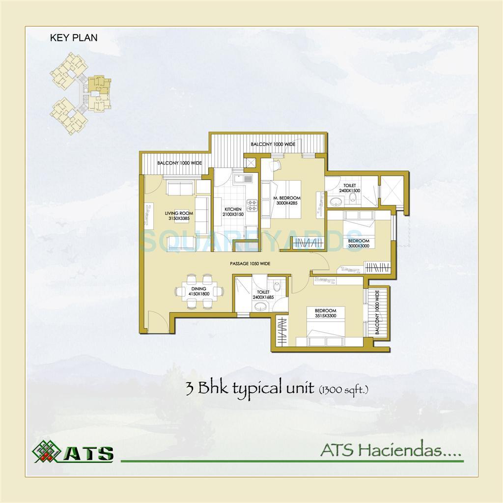 ats haciendas apartment 3bhk 1300sqft 1