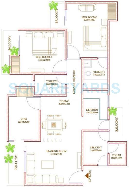 ecnon twin towers apartment 2bhk 1421sqft1