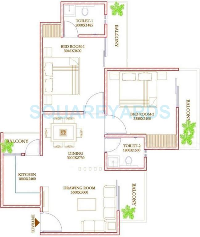 ecnon twin towers apartment 2bhk 990sqft1