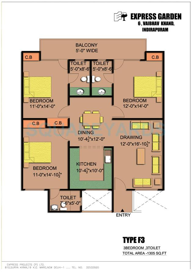 express garden apartment 3bhk 1305sqft 1