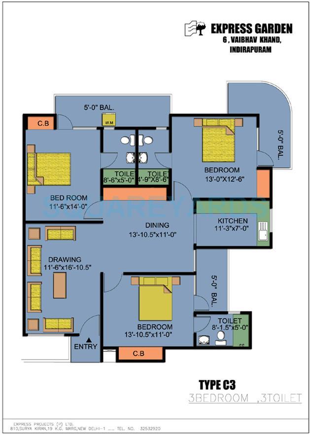 express garden apartment 3bhk 1790sqft 1