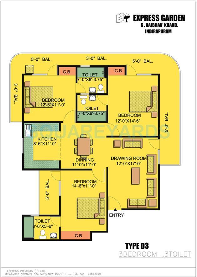 express garden apartment 3bhk 1870sqft 1